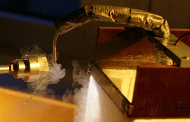 Flüssiger Wasserstoff fließt an einem Magneten vorbei.